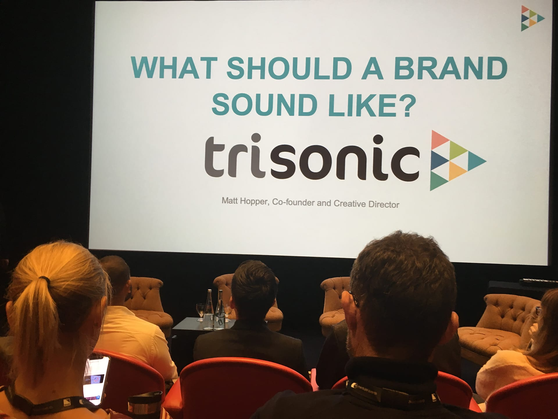 Trisonic's Matt Hopper presenting 'What Should A Brand Sound Like?' at The Future of Audio conference