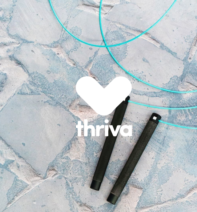 Thriva logo over stone floor with skipping rope