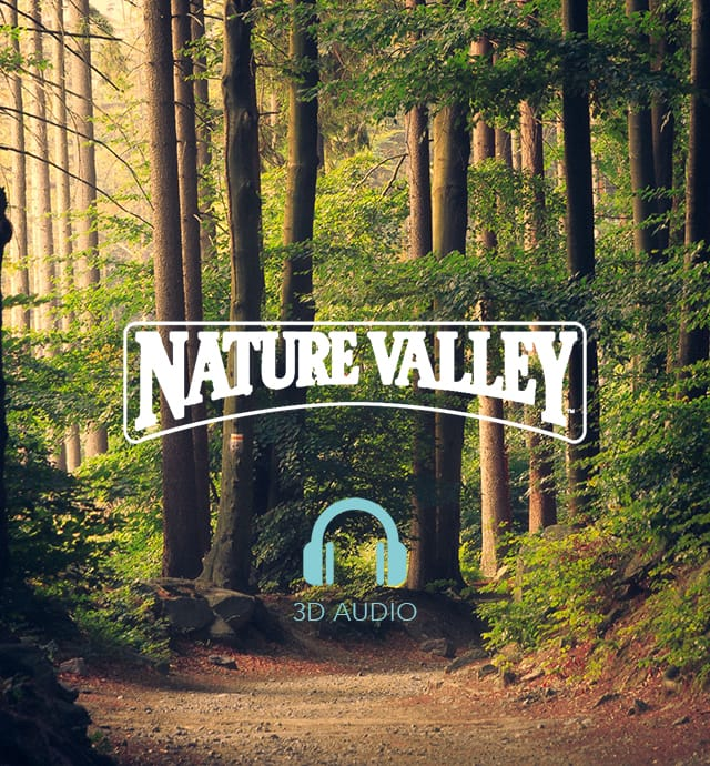 Forest with nature Valley logo and 3D audio headphones