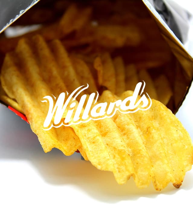 Ridged potato chips with Willards logo
