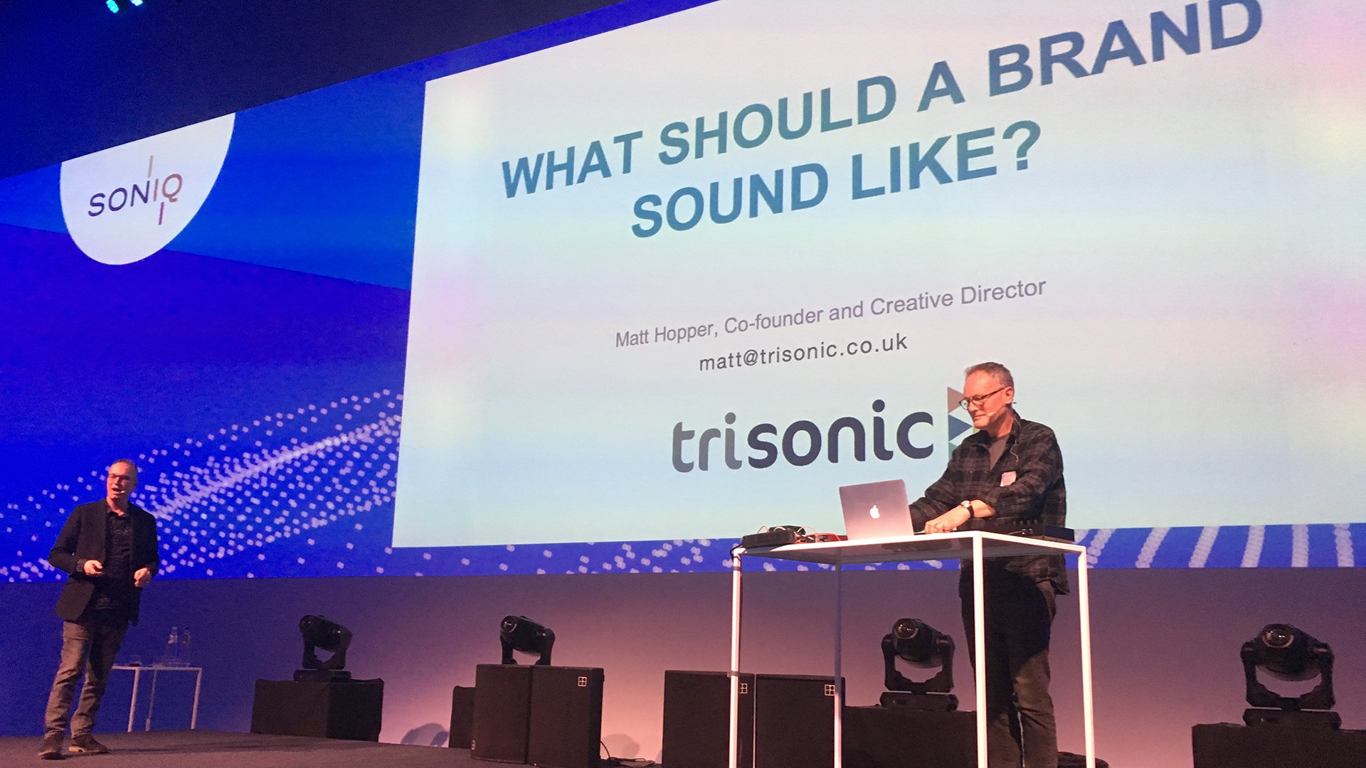 Trisonic's Matt Hopper and Johnny Griggs presenting a session about audio branding at the Soniq Awards in Brussels