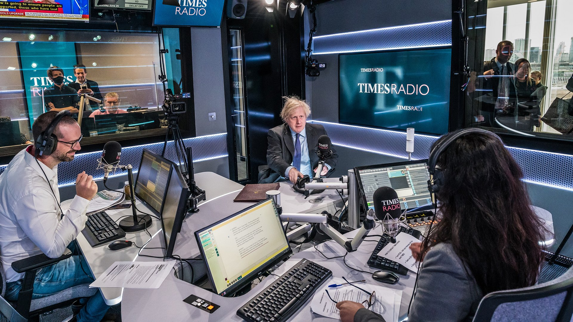 British Prime Minister Boris Johnson being interviewed in the Times Radio studio on launch day